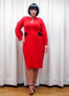 Halflange lengte rode schede jurk voor zwaarlijvige vrouwen