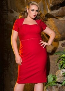 Semi-legging rode jurk voor vrouwen met overgewicht