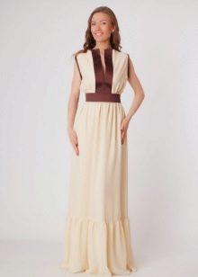 Long milk dress with bronze snaps