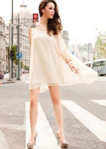 Beige shoes for a short milk dress