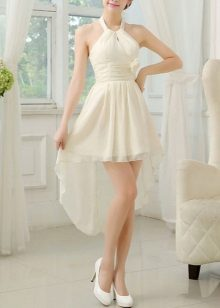 White shoes for asymmetrical dairy dress