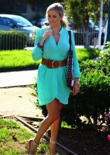 Dress sea green in combination in brown accessories