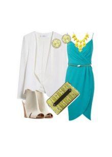 Aqua dress and light accessories to it