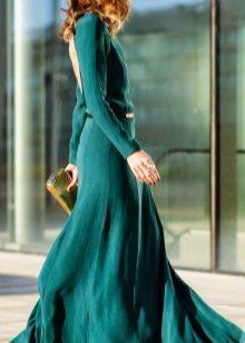 Sea green evening dress