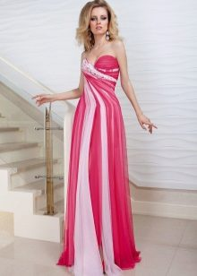 Pink dress with white stripes