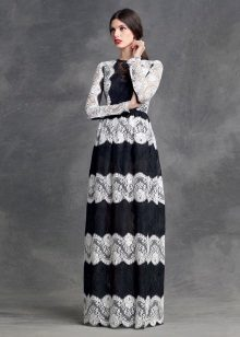 Dress lace from horizontal stripes