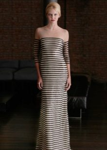 Two-tone dress with horizontal stripes