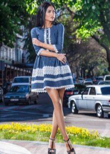 Dress with lace stripe