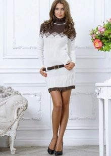 Dress sweater knitted two-tone