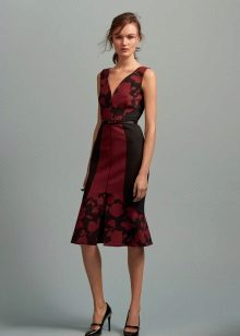 Black dress with a red print