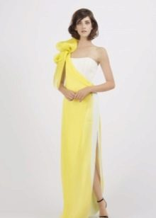 Yellow dress with a white insert