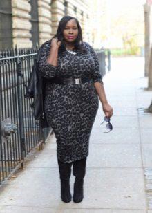Luipaard schede jurk voor zwaarlijvige vrouwen met brede schouders
