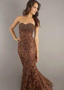 Longo vestido de renda ano cor de chocolate