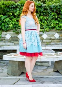 Mint dress with red petticoats
