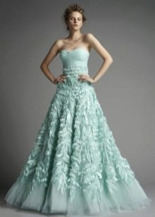 mint dress with a multi-layer skirt