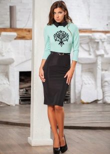 mint dress with black bottom