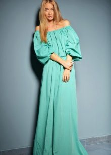 Mint dress with puff sleeves