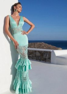 Mint dress with lace inserts