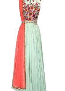 Turquoise dress with orange
