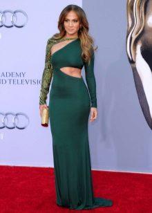 Jennifer Lopez's jurk in een vloer en een tas