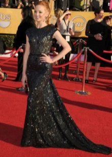 Zwart zo lang mogelijk jurk met pailletten