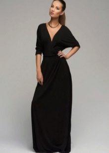 Lange zwarte gebreide jurk