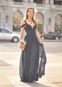 Lange chiffon jurkjurk grijs