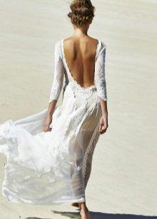 Gaun chiffon panjang dengan renda dan buka belakang