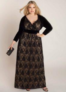 Vestit llarg encaixat combinat amb vellut per a dones obeses (noies)