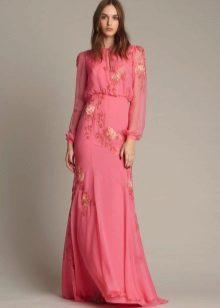 Rochie roz la podea