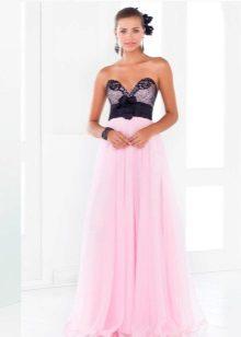 Rochie roz cu corset negru