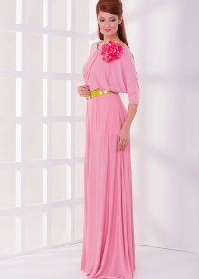 Rochie roz cu mânecă de lilieci