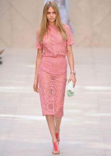 roz rochie dantelă rochie