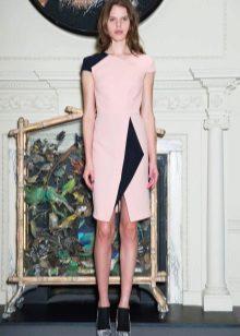 Rochie roz cu inserții negre