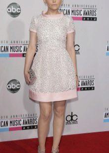 Rochie roz cu margele gri