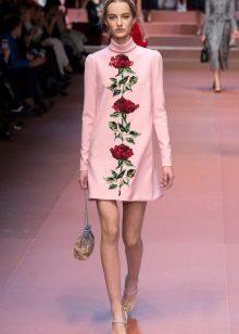 Rochie rosie cu flori rosii
