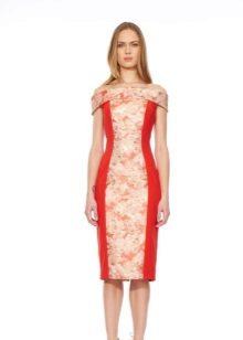 Rochie rosie cu inserție roșie