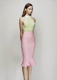Rochie roz cu verdeata