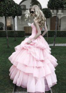 Rochie roz, cu fusta pufoasa