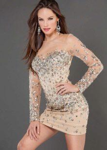 Flesh-colored mini dress