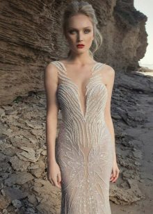 Nude dress with lace