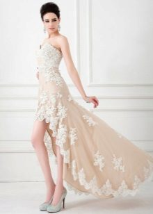 Dress in nude style short front long back