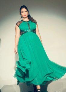 Vestit llarg de punt verd amb cintura alta per a dones obeses