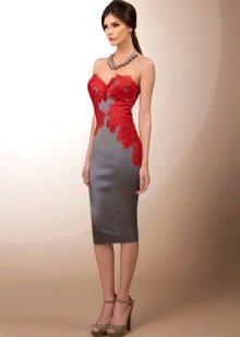 Vestido cinza com renda de cereja