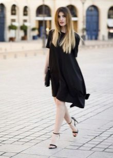 Black Asymmetrical Trapezoid Dress