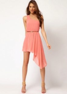 Pink asymmetrical dress with a belt