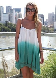 Asymmetrical flared two-tone dress