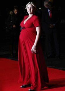 Rode lange jurk met korte mouwen voor zwangere vrouwen