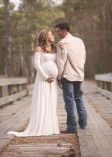 Lange jurk voor zwangere vrouwen