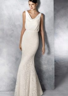Mermaid wedding dress na may libreng tuktok